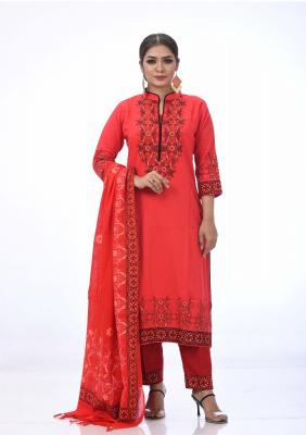 Red Printed and Embroidered  Shalwar Kameez