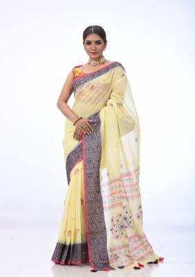 Yellow Cotton Saree Printed And Embroidered
