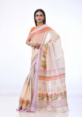 Off White Cotton Saree Printed And Embroidered