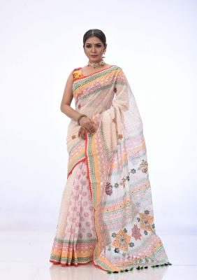 White Half Silk Saree Printed And Embroidered