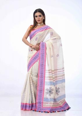 Off White Printed And Embroidered Half Silk Saree