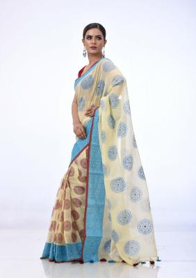 Beige Cotton Saree Printed And Embroidered