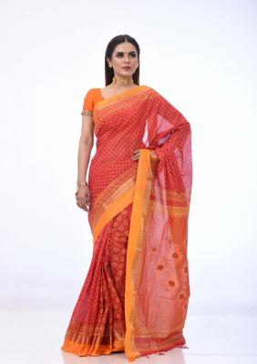 Red Cotton Saree Printed And Embroidered