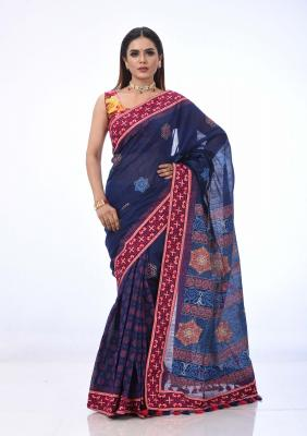 Blue Printed And Embroidered Half Silk Saree