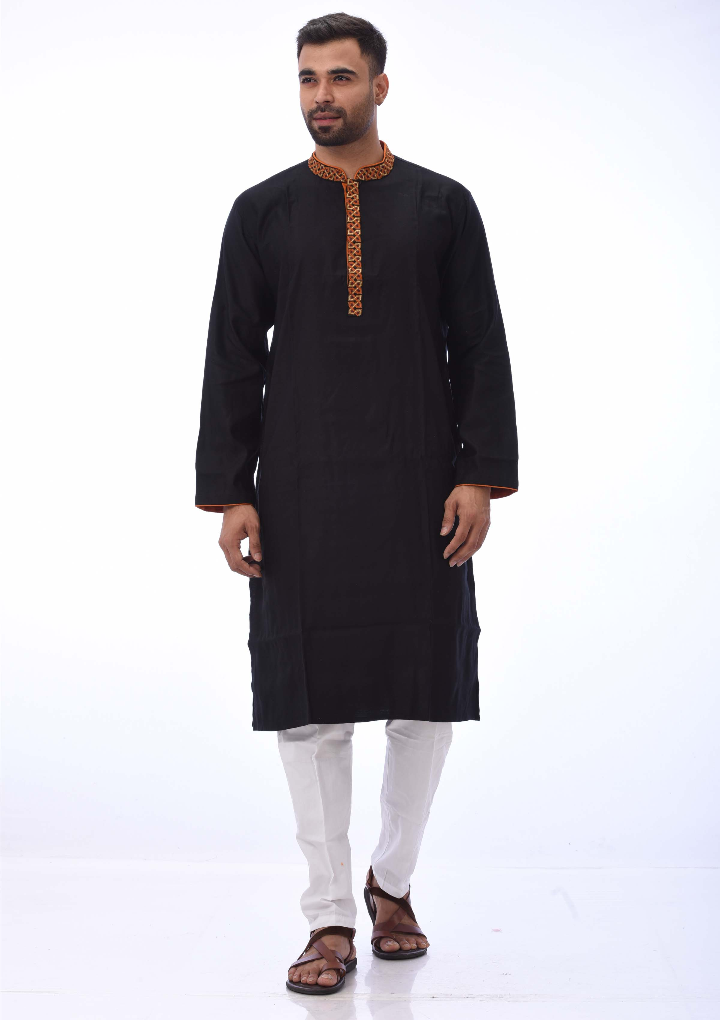 Black Cotton and Embroidered Panjabi