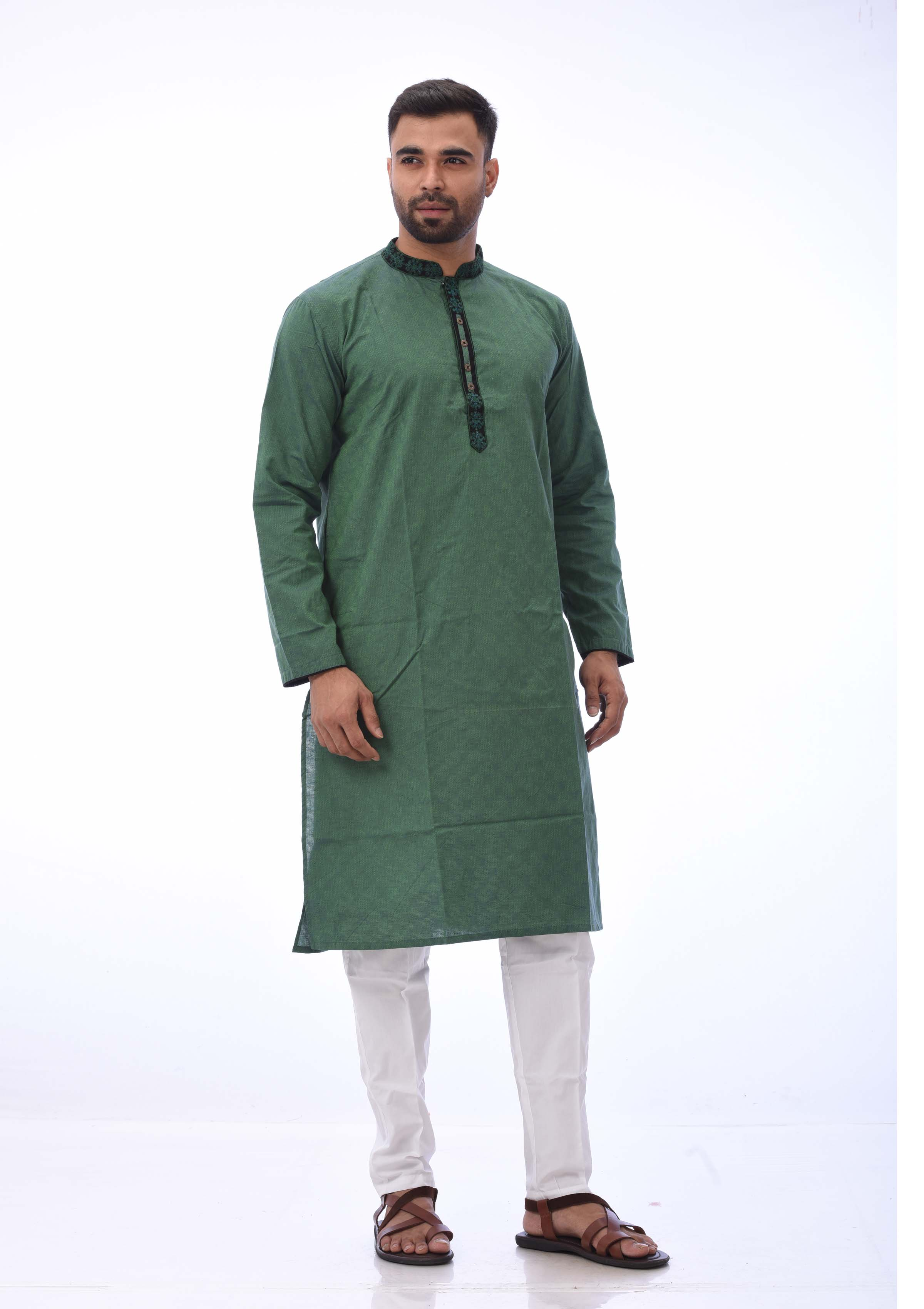 Green Cotton Panjabi And Embroidered